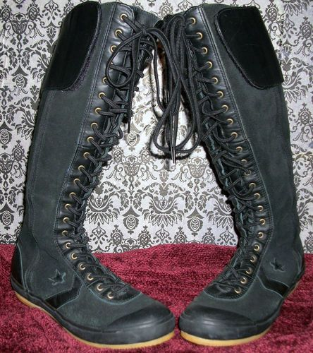 converse 6 5 womens. converse black all star leather lace up knee high boots men 6 5 women 8 womens