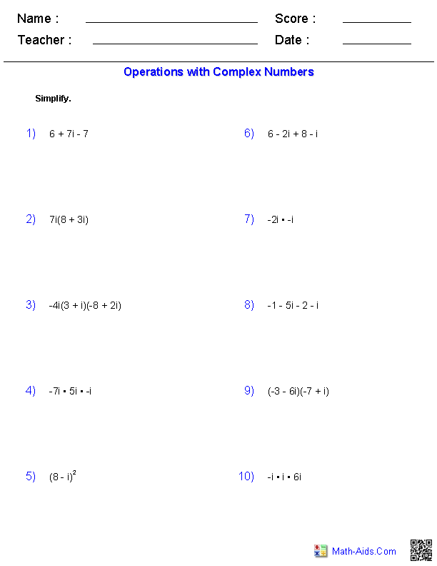 Operations with Complex Numbers | Math-Aids.Com