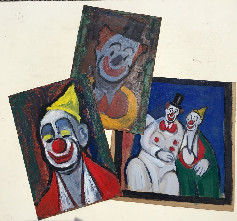 Lot of 3 Vintage 1950's Clown Paintings #Modernism | Clown Art