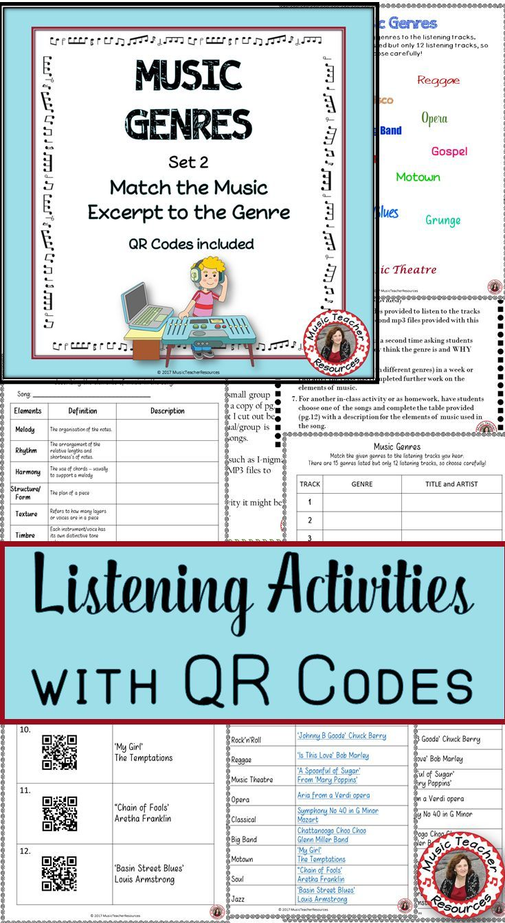 music genres: music listening worksheets with qr code 2: music