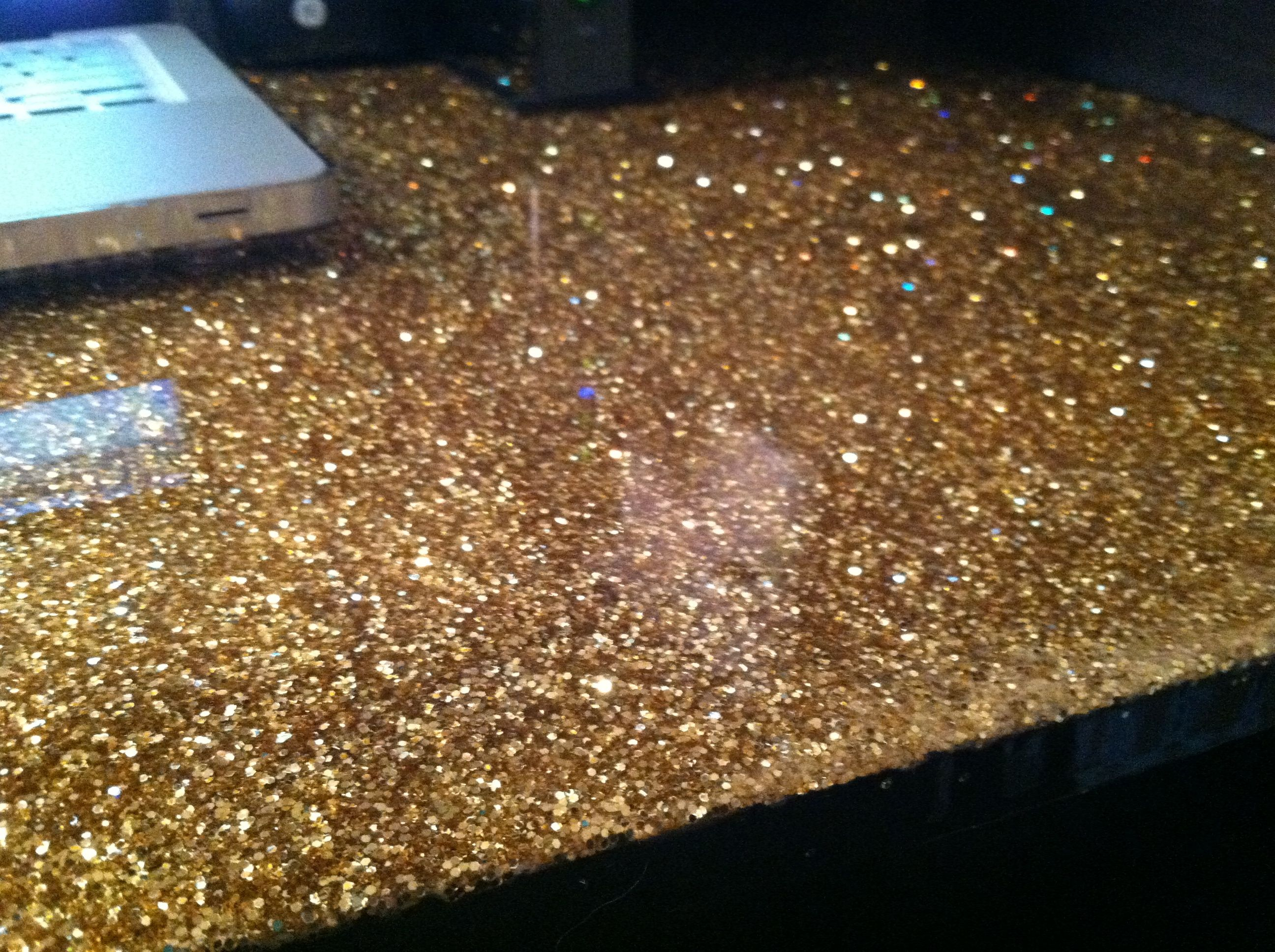 Diy Glamour Table Top Mix Glitter Amp Mod Podge Paint On
