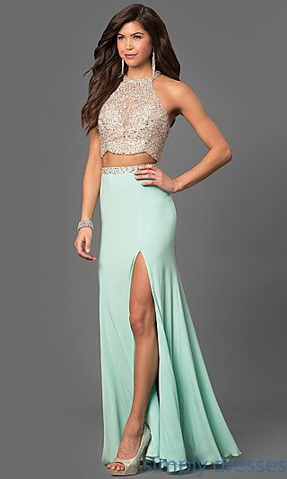 69f8e9dcd64 Shop sheer-illusion long prom dresses at Simply Dresses. Two-piece formal  evening dresses with high-neck beaded crop tops