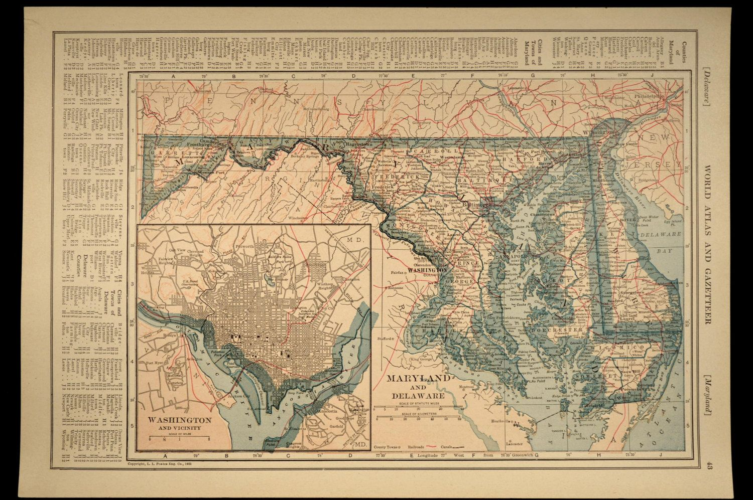 Maryland Map Delaware Map Railroad Antique Detailed | Delaware ...