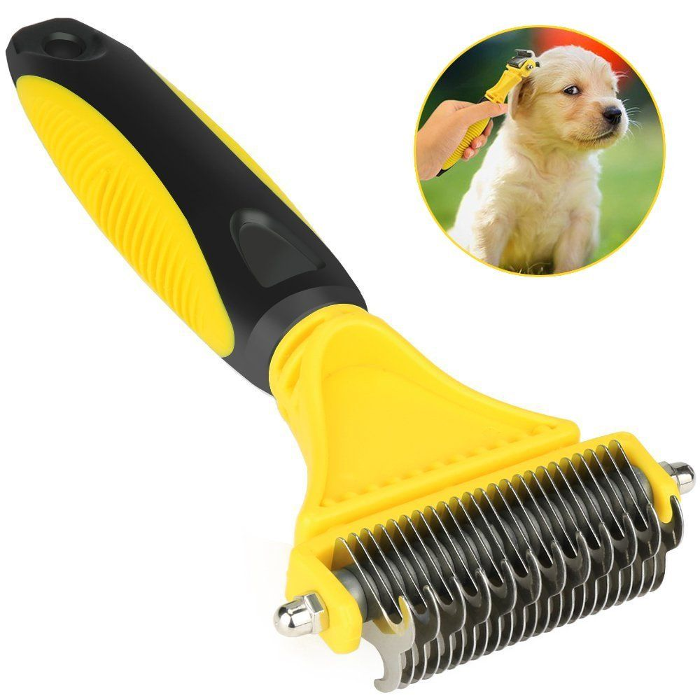 Airsspu Dematting Tool For Dogs Dematting Comb For Cats Dog Grooming Brush Tool 2 Sided Steel Undercoat Rake For Dog Dog Grooming Dog Cat Pet Dogs