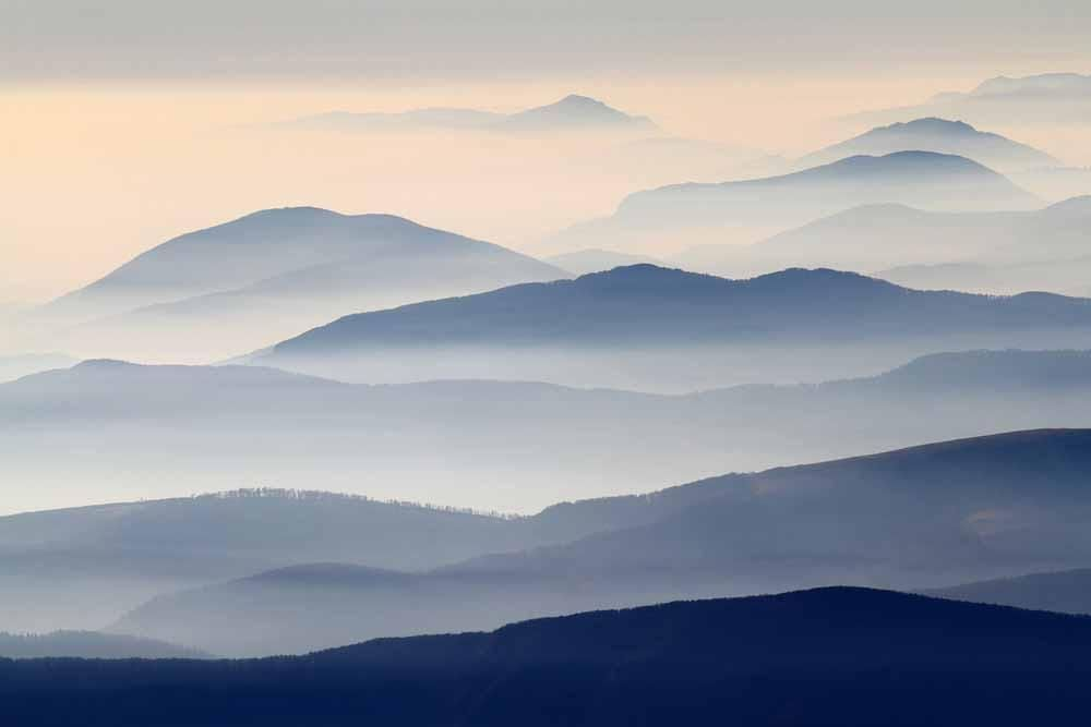 Blue Misty Hills Mountains in 2020 Mountain mural