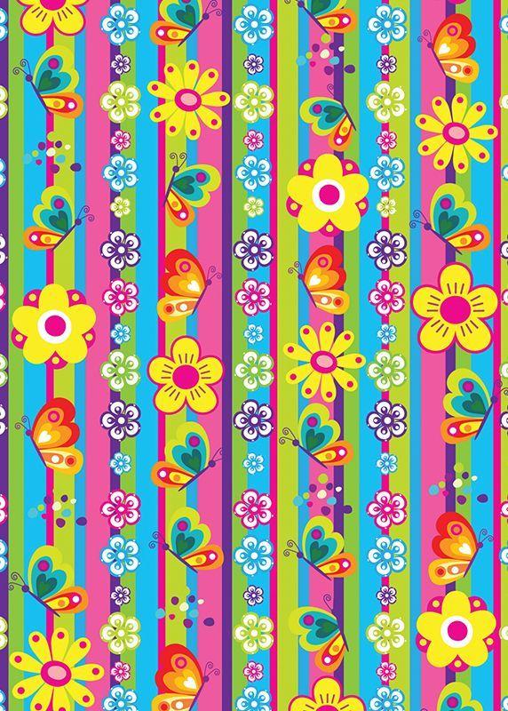 Flores y mariposas rayas verticales papeles decorados - Papeles pintados rayas verticales ...