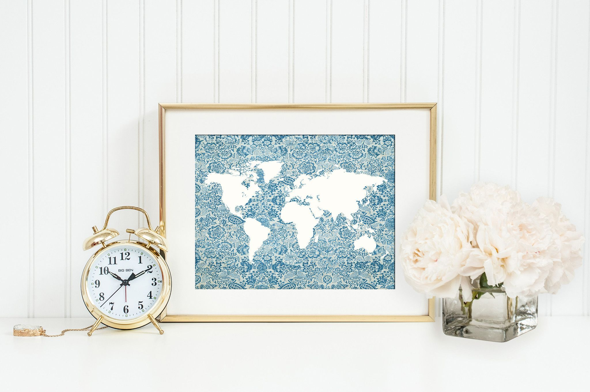 Blue Floral World Map Print Map Silhouette Poster Cottage Chic