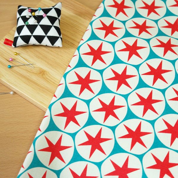 """By The Yard 100% Cotton Fabric Red Blue Stars Sewing Craft 44""""x36"""" K o-080 #KH"""
