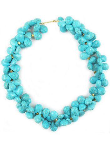summer sample sale!! // Meredith necklace // turquoise howlite and gold thunder polished glass // $140
