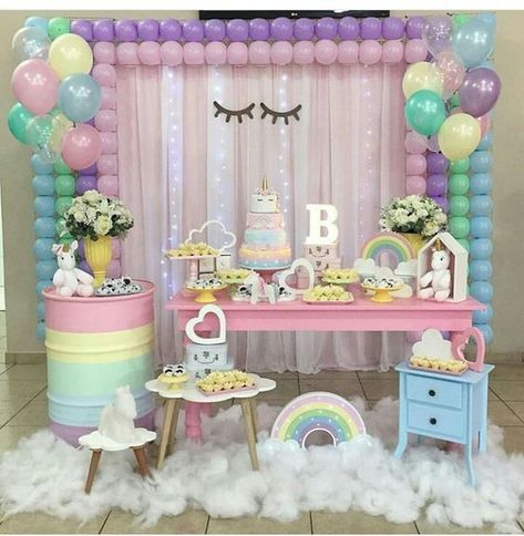 Fiestas Infantiles De Moda Uiltimas Tendencia En Decoracion De Fiestas Infantiles Tend Unicorn Theme Party Birthday Party Decorations Unicorn Themed Birthday