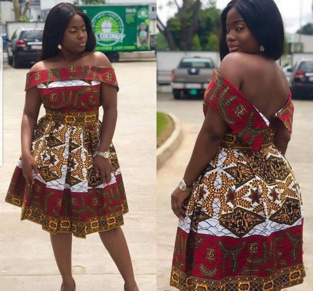 African Off-Shoulder Box-Pleated Dress | African Print Dresses | African Clothing Styles | African Wedding Party #throwbackoutfits