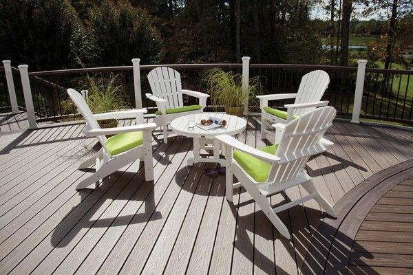 Cape Cod 5 Pc Adirondack Conversation Group by Trex                                                                                Set includes (4) Adirondack Chairs & Conversation Table.