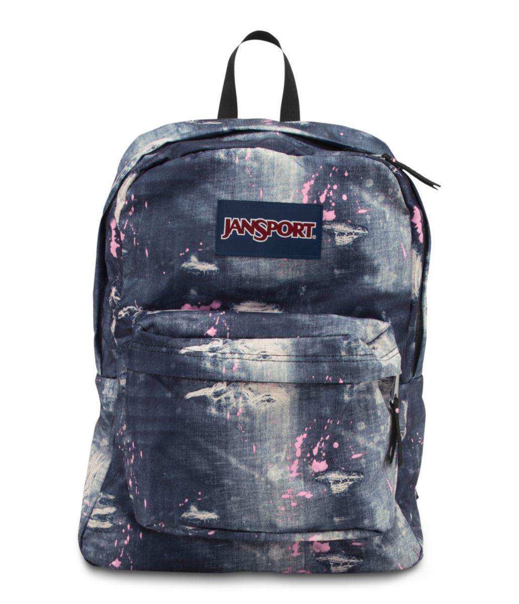 JANSPORT SUPERBREAK BACKPACK SCHOOL BAG - Multi Distressed Denim ...