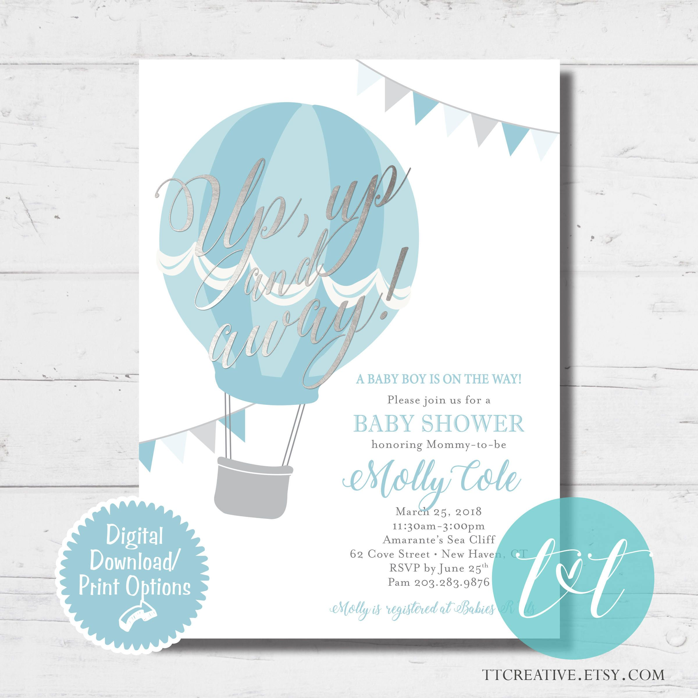 Hot Air Balloon Up Up And Away Baby Boy Shower Invite Baby