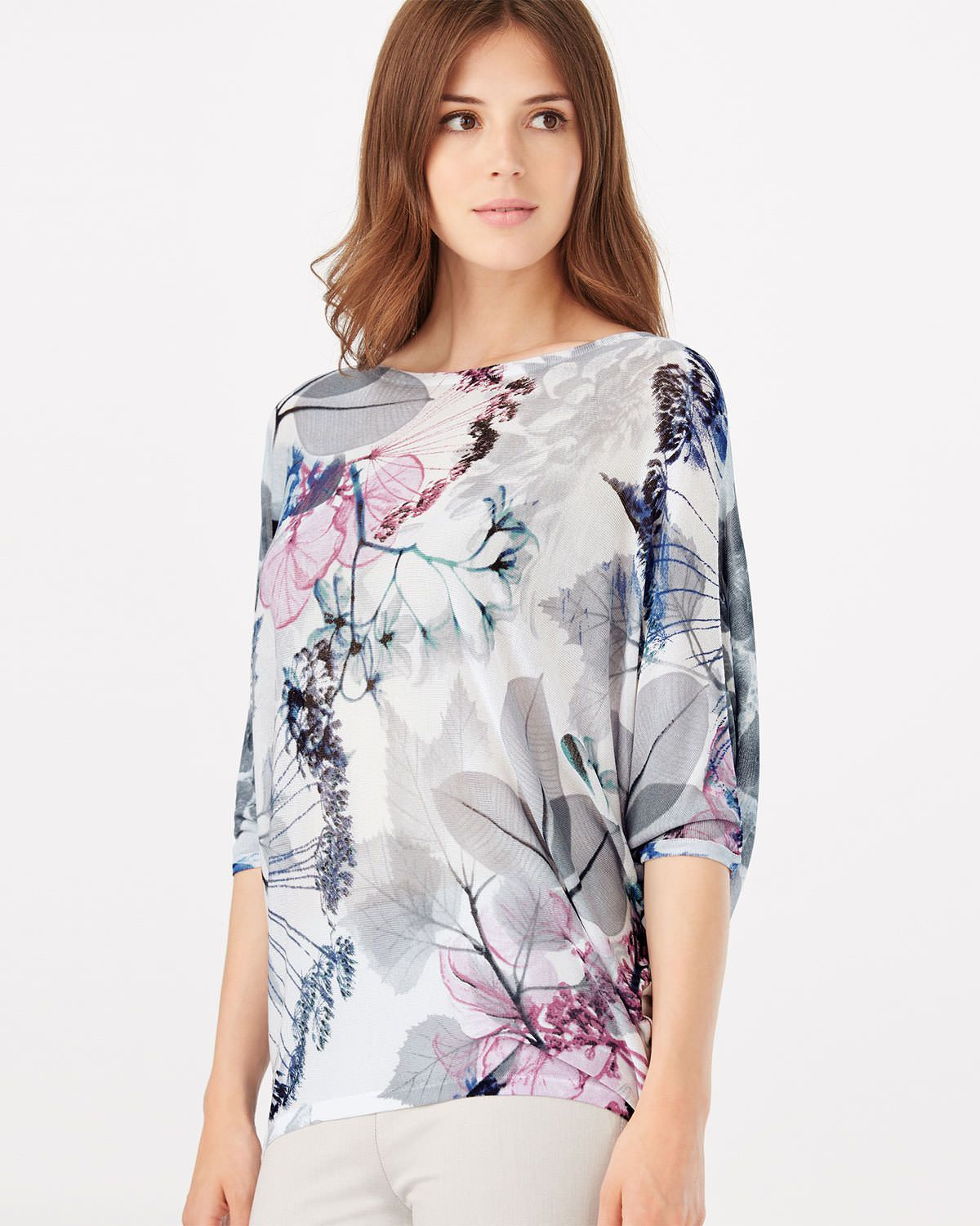 c50281879e26d5 This soft knit from the Phase Eight Italian Collection has batwing sleeves  and a relaxed fit with a pretty floral print.