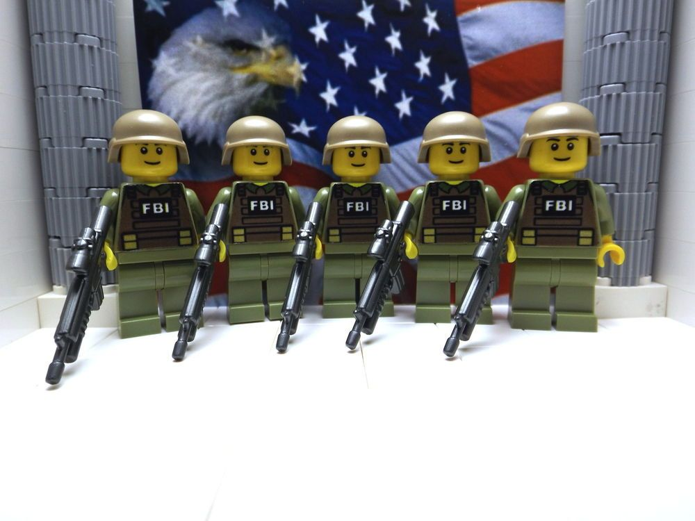 5x LEGO American FBI SWAT Team Members with M16-AGL's and Helmets #LEGO
