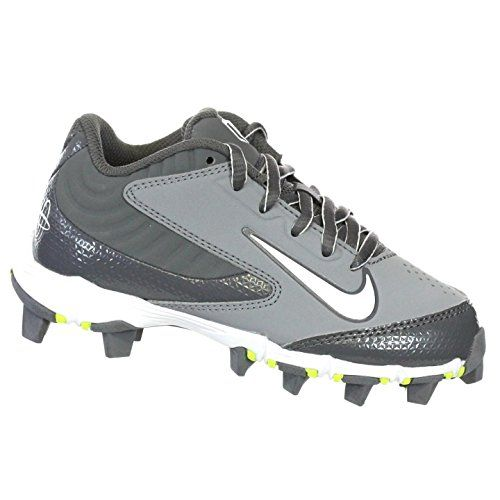NIKE HUARACHE KEYSTONE LOW GS GREY/GRAPH/WHITE YOUTH MOLDED BASEBALL CLEATS  2Y *
