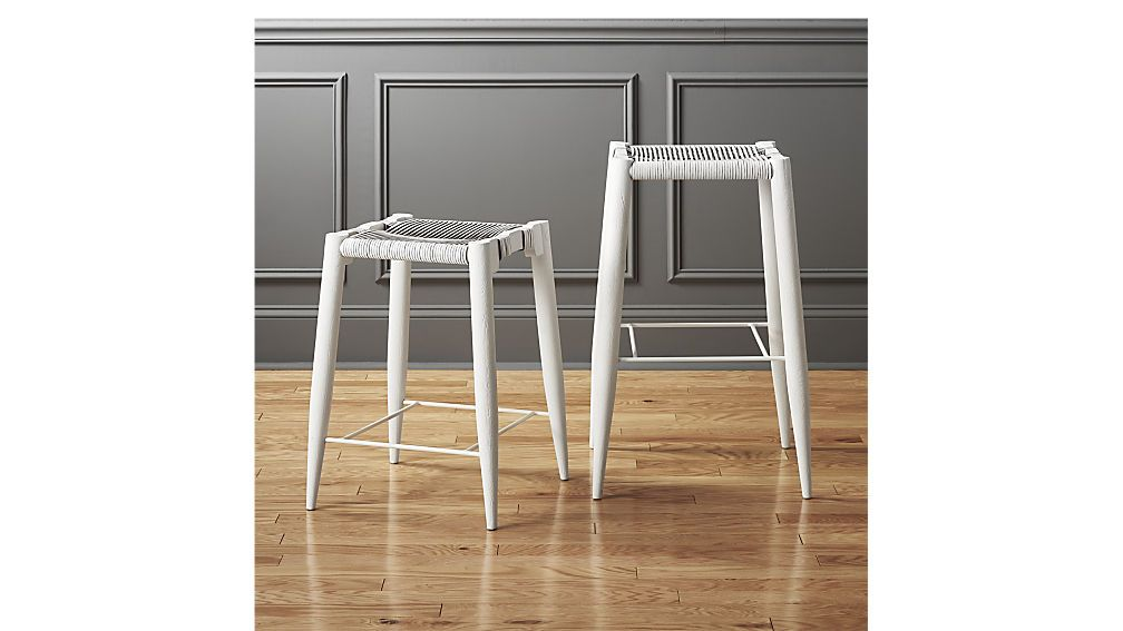 Kitchen Table Colors Nahla White Leather Counter Stool 24 Cb2