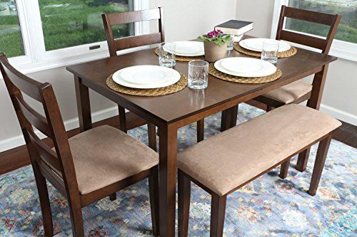 4 Person 5 Piece Kitchen Dining Table Set 1 Table 3 Microfiber Chairs 1 Bench Walnut J Dining Table In Kitchen Wood Dining Room Table Glass Dining Table Set