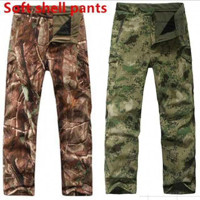 5197c5e219caf TAD Shark Skin Waterproof Windproof Outdoor Hiking Climbing CS Camouflage  Hunting Pants Men Fleece Trousers Military