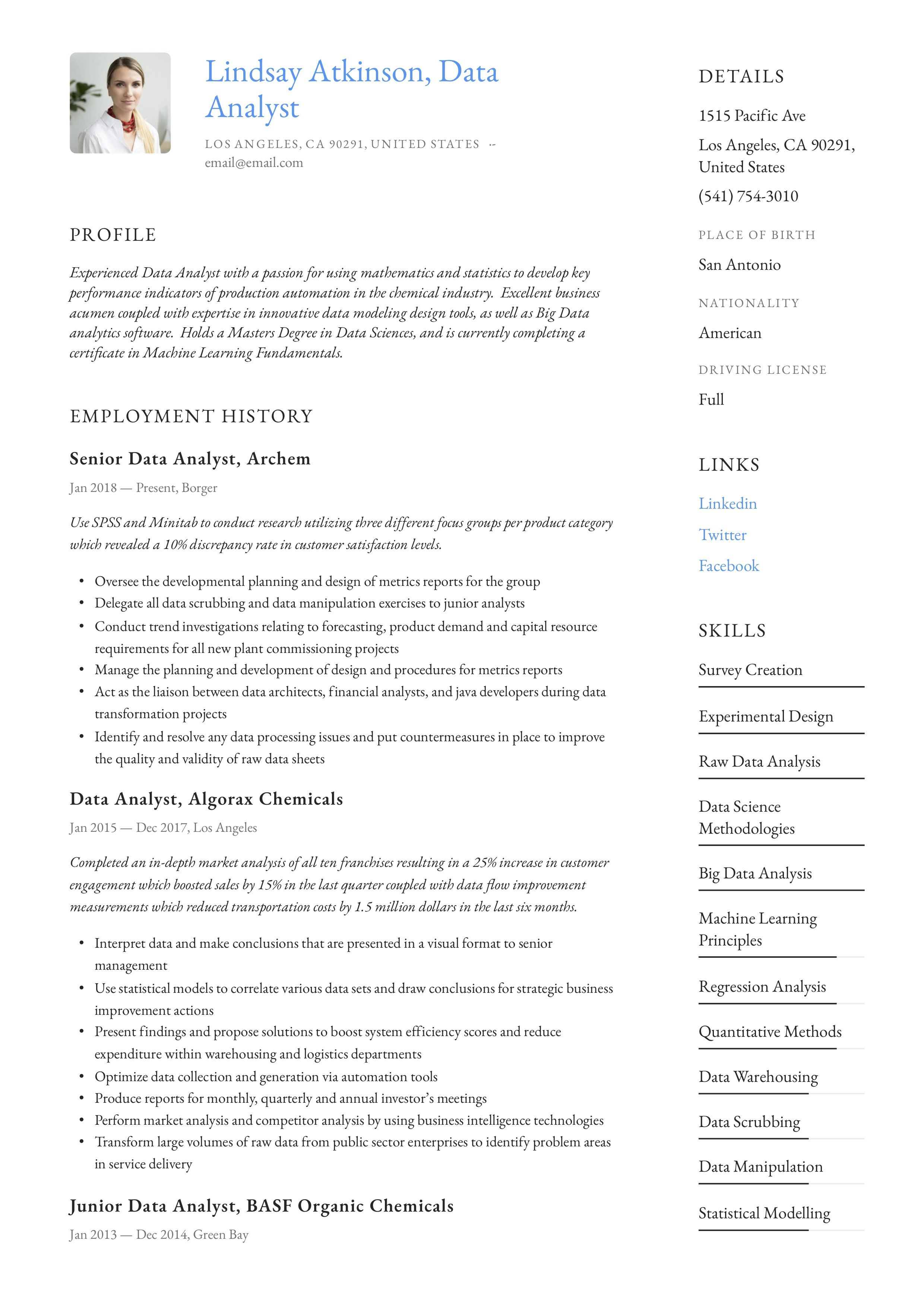 data analyst resume example  sales resume examples