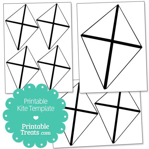 Printable Kite Template from PrintableTreats Shapes and