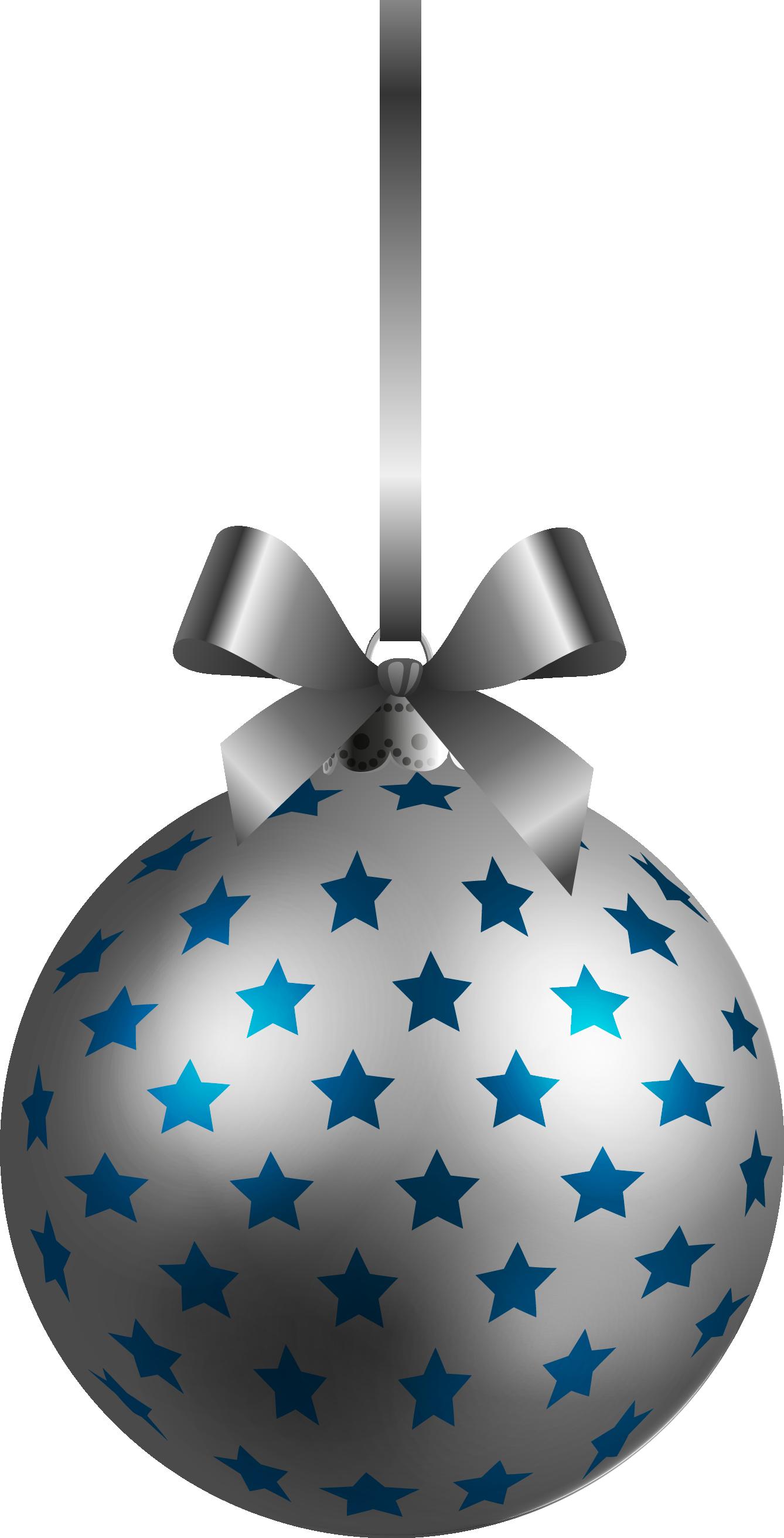 Large Transparent BlueSilver Christmas Ball Ornament PNG