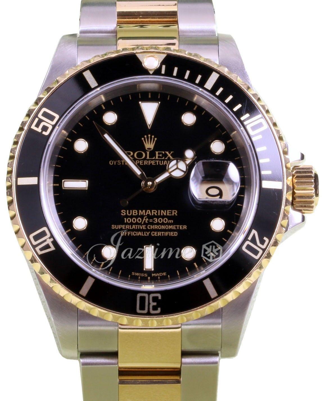 Rolex Submariner 16613 Black 40mm 18k Yellow Gold No Holes Gold Through Pre Owned Rolex Submariner Rolex Submariner