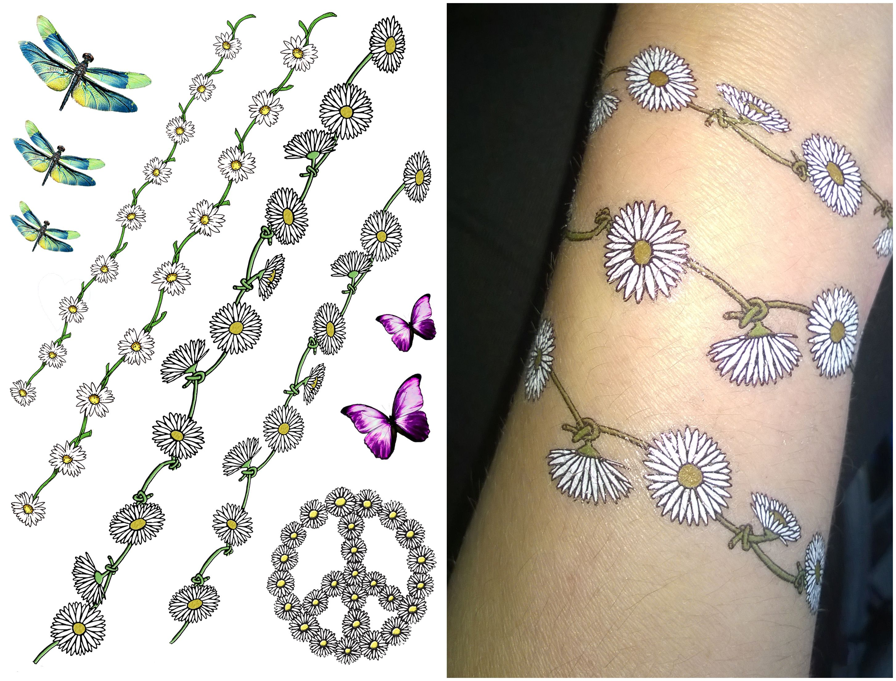 Daisy Chain Wrist Temporary Tattoo. Summer, Festival