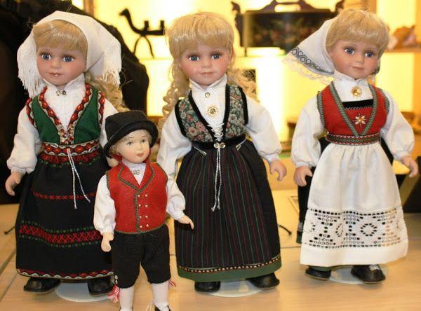 Norwegian folk costumed dolls