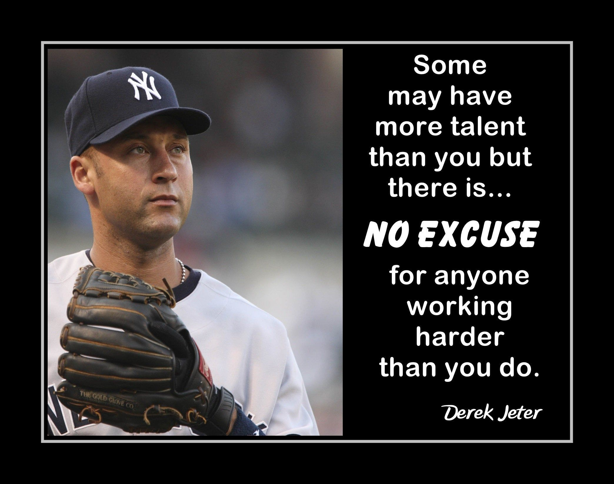 Inspirational Baseball Motivation Quote Wall Art Poster Daughter Friend Birthday Gift For Son Derek Jeter Yankees Photo Decor 8x10 16x20 With Images Wall Art Quotes Derek Jeter Quotes Retro Wall Art