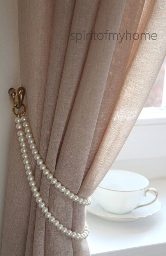 TAMMY' Shabby Chic  Styled Curtain Tieback Pearl Handmade with metal rings Lenght 19