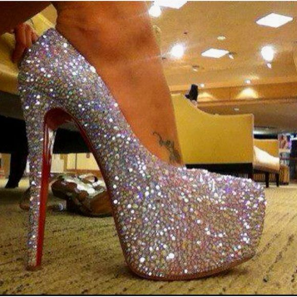 Christian Louboutins (Red Bottoms) Silver Crystal Silver ...