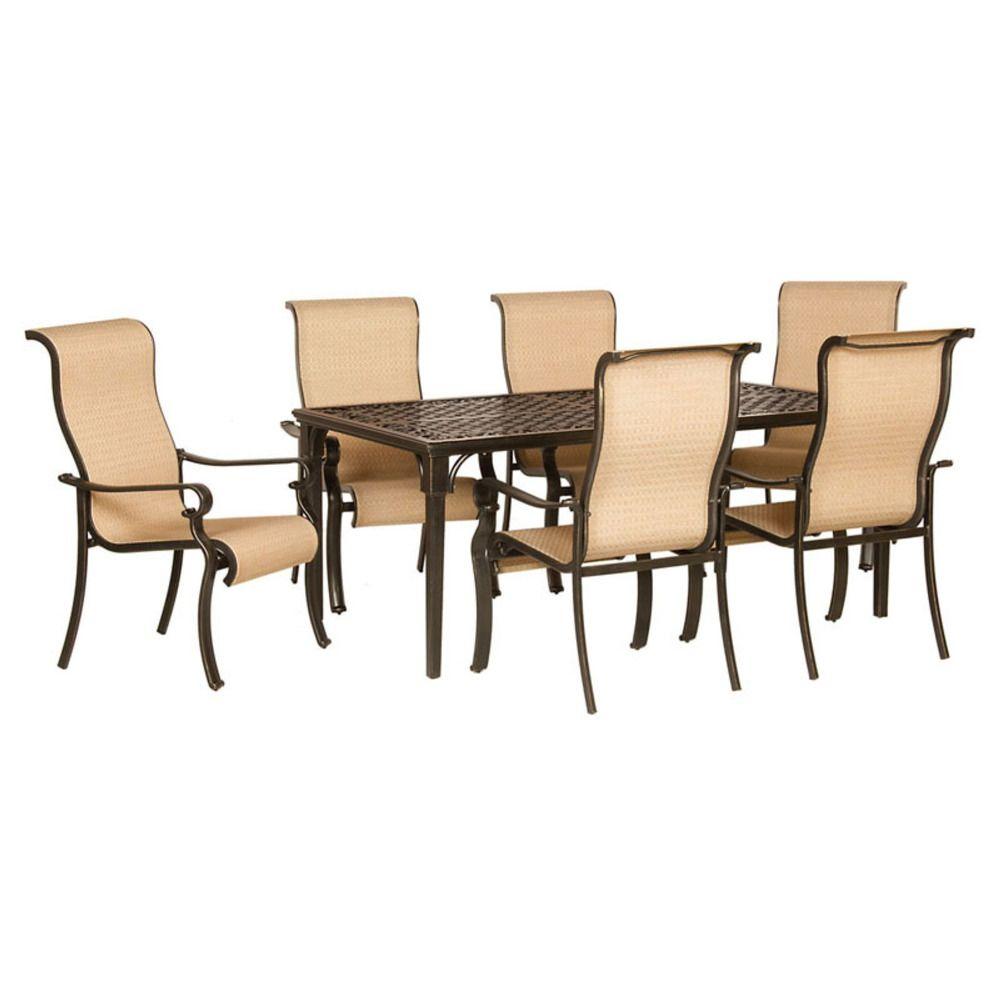 Piece Patio Dining Set Aluminum Rectangular Glass Top Table - Rectangular glass top patio dining table