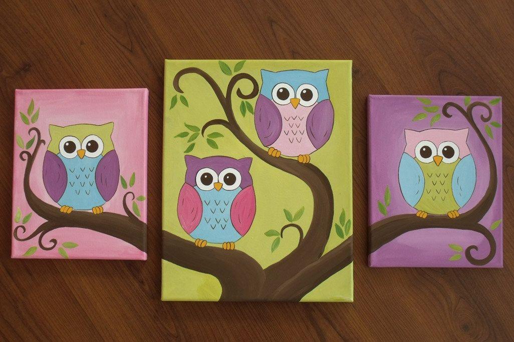 Cute owl canvas paint idea for wall decor. Cute birds on tree branch ...
