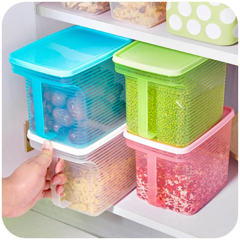 Creative Stackable Single Vanzlife Handle Kitchen Cabinets Refrigerator Grains Sealed Plastic Storage Tank Box