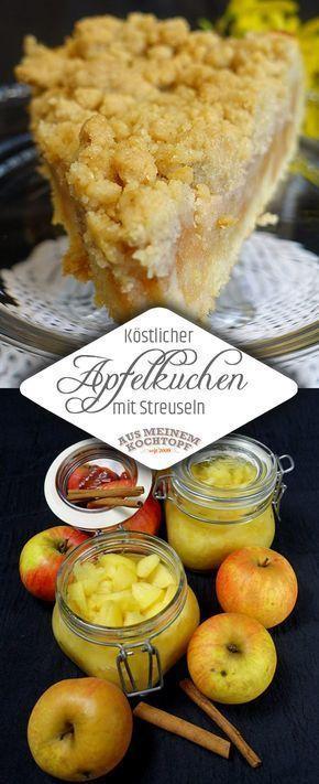 Köstlicher Apfelkuchen mit Streuseln #caramelapplecheesecake