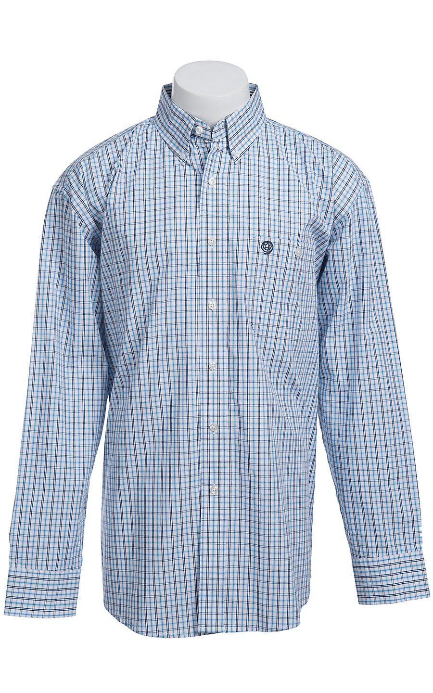 faa98ea9a George Strait by Wrangler Long Sleeve Men's Plaid Shirt MGS013B ...