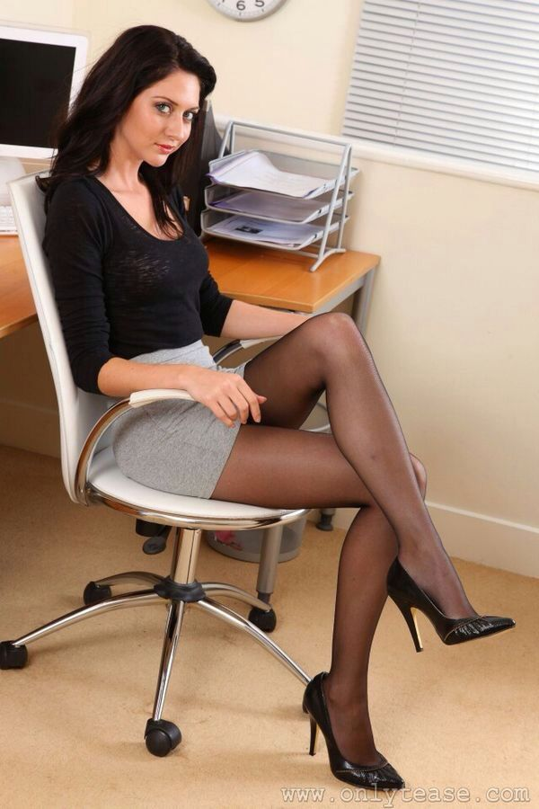 secretary crossing her legs office secretary fantasy pinterest legs stockings and sexy. Black Bedroom Furniture Sets. Home Design Ideas