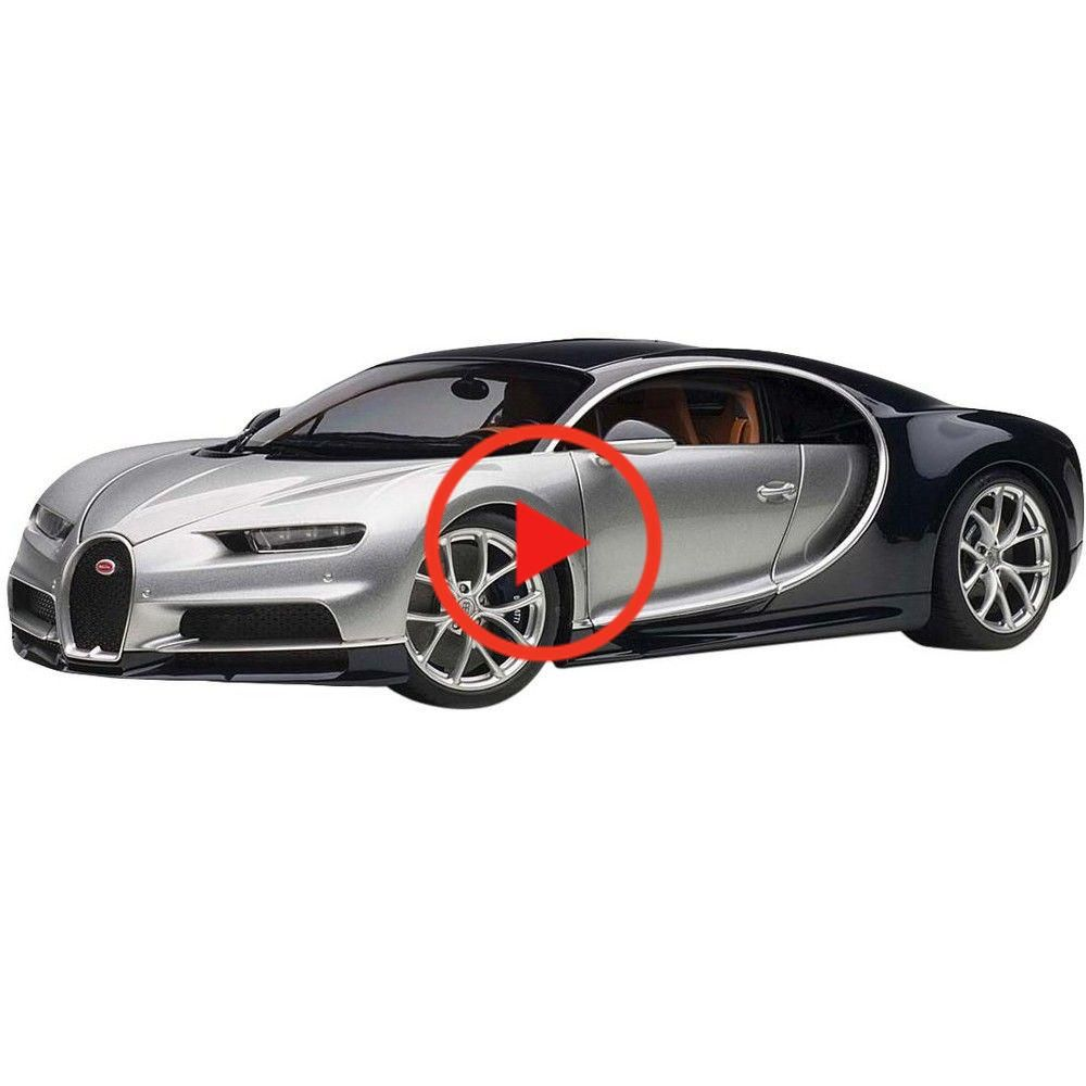 Bugatti Chiron Argent Silver and Atlantic Blue 1/18 Model Car by Autoart