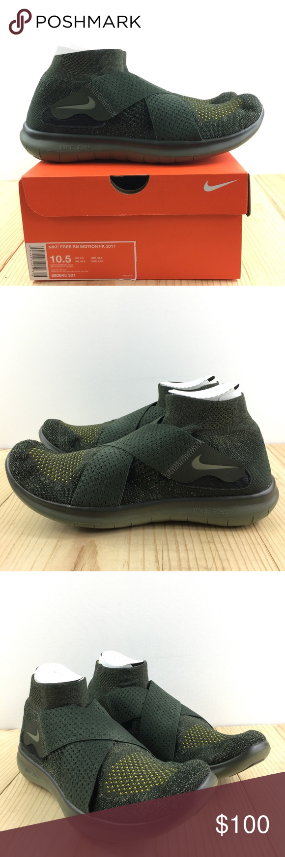 3da69bc96ac19 Nike Free Run Motion Flyknit 2017 Size 10.5 Mens Nike Free Run Motion  Flyknit 2017 Mens Medium Olive Shoes Brand New with Box Color  Sequoia   Medium Olive ...