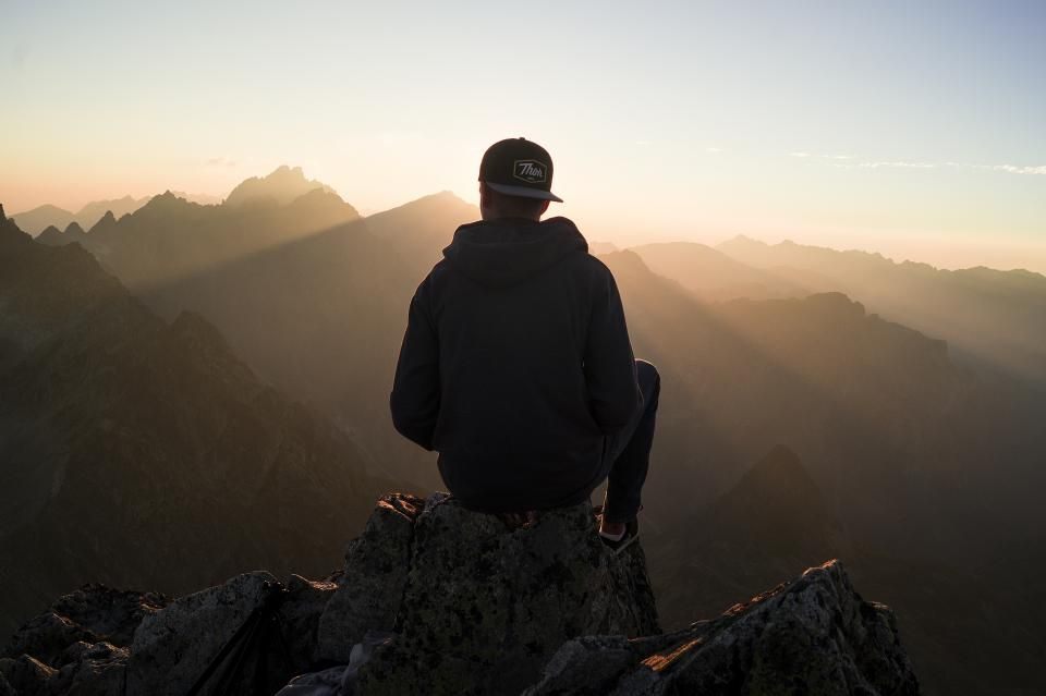 Guy Man Male People Back Contemplate Sit Nature Mountains Rocks Travel Trek Hike Climb Summit Peaks Photography Poses For Men Photo Stock Photos