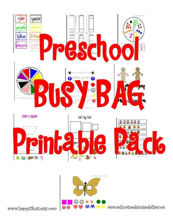 Preschool Busy Bag Printable Pack PDF Format by happy2knit on Etsy - coupon format