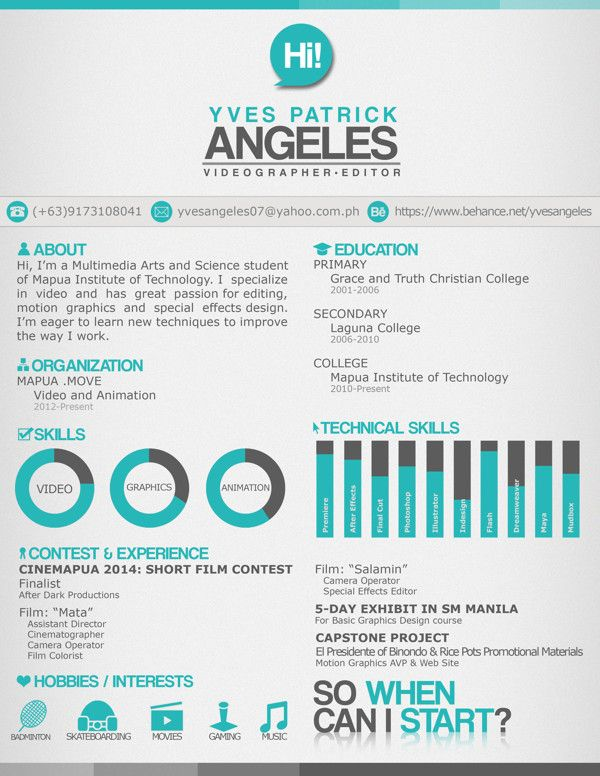 Great Resume Layout With An Awesome Catch Statement When Can I Start By Yves Angeles Resume Design Resume Design Inspiration Resume Design Creative