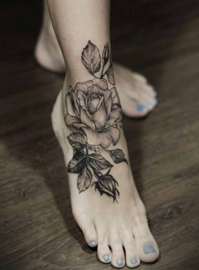 Fleur Tatouage Rose Cheville Femme Tattoos Piercings Tattoos