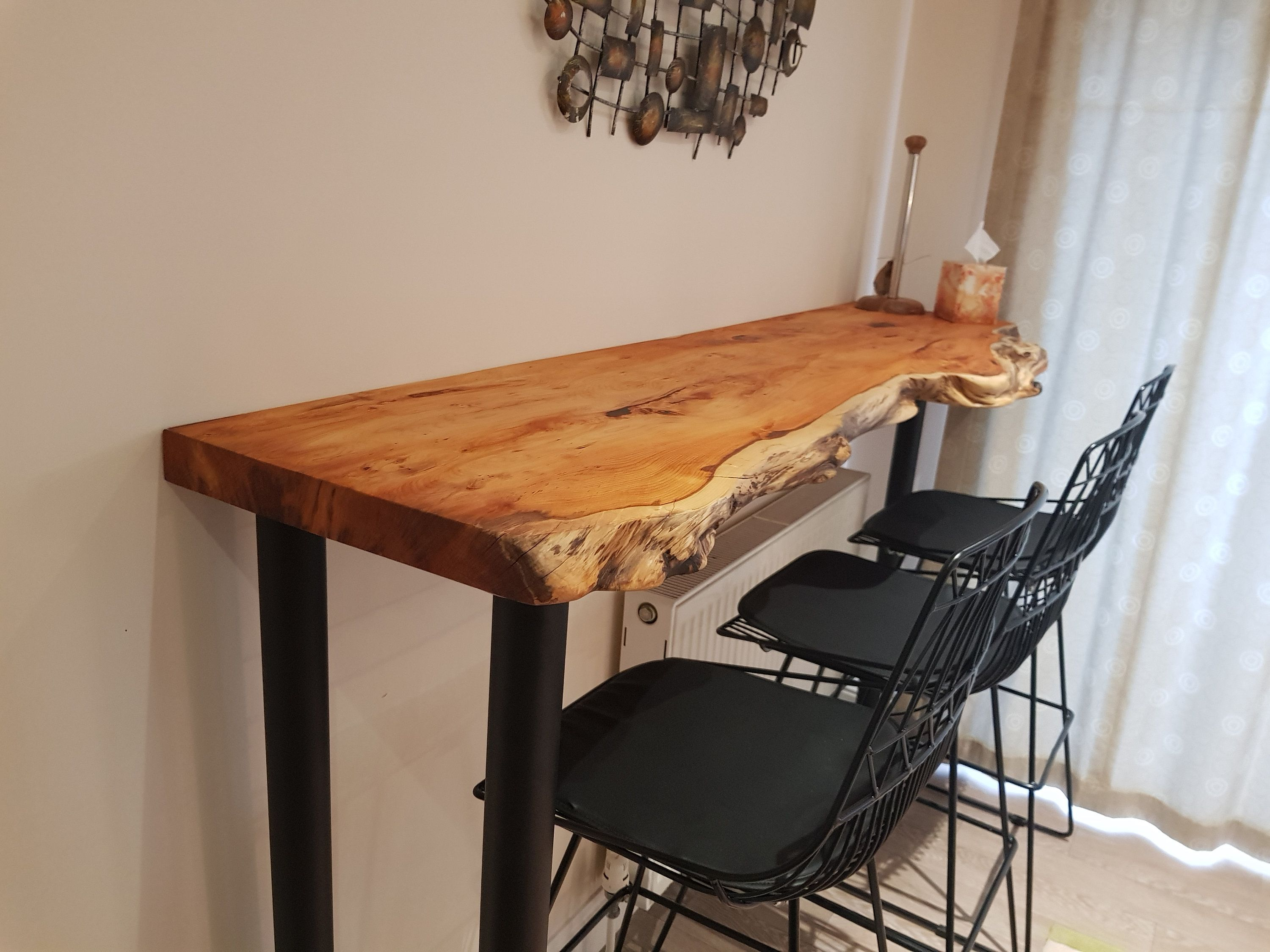Live Edge Resin Breakfast Bar Countertop Shelf Console Table By Artfulshelves On Etsy In 2020 Countertops Console Table Modern Console Tables