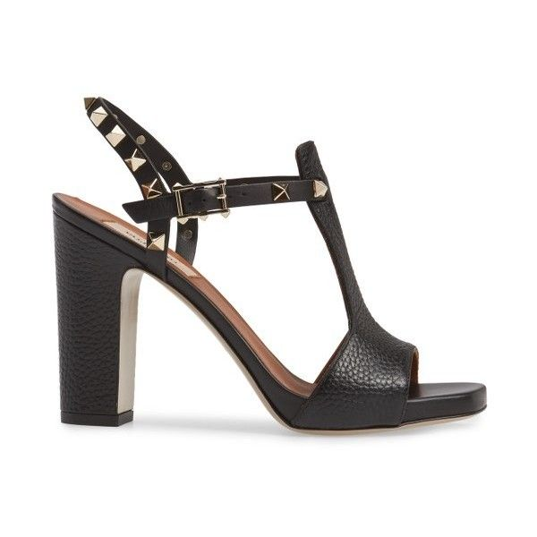 Women's Valentino Rockstud T-Strap Sandal (26 765 UAH) ❤ liked on Polyvore featuring shoes, sandals, t bar shoes, t bar sandals, t strap sandals, valentino sandals and t strap shoes
