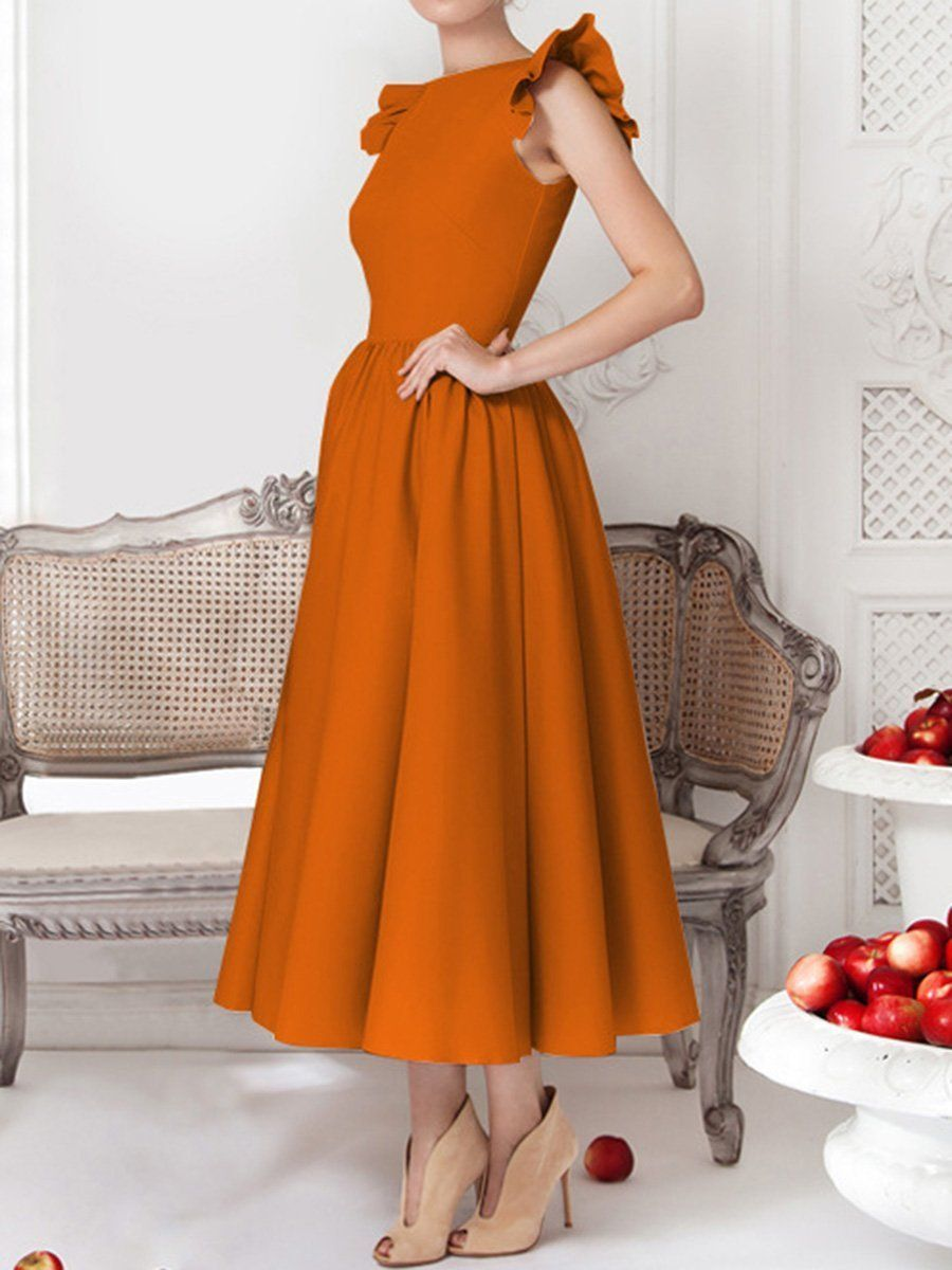 Woman Round Neck Flounce Plain Evening Dress - Evening dresses, Elegant dresses, Fancy dresses, Ruffled maxi dress, Evening dress fashion, Evening dresses elegant - Wedding SIZE CHART AS A REFERENCE Waist length bust  inch cm inch cm inch cm s 26 66 51 129 31 80 m 28 71 52 131 33 85 l 30 76 52 133 35 90 xl 32 81 53 135 37 95 All dimensions are measured manually with a deviation of 2 to 4cm