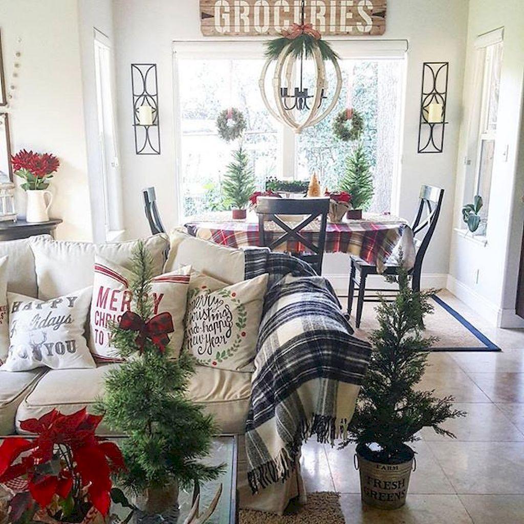 75 Comfy Rustic Farmhouse Christmas Living Room Decor
