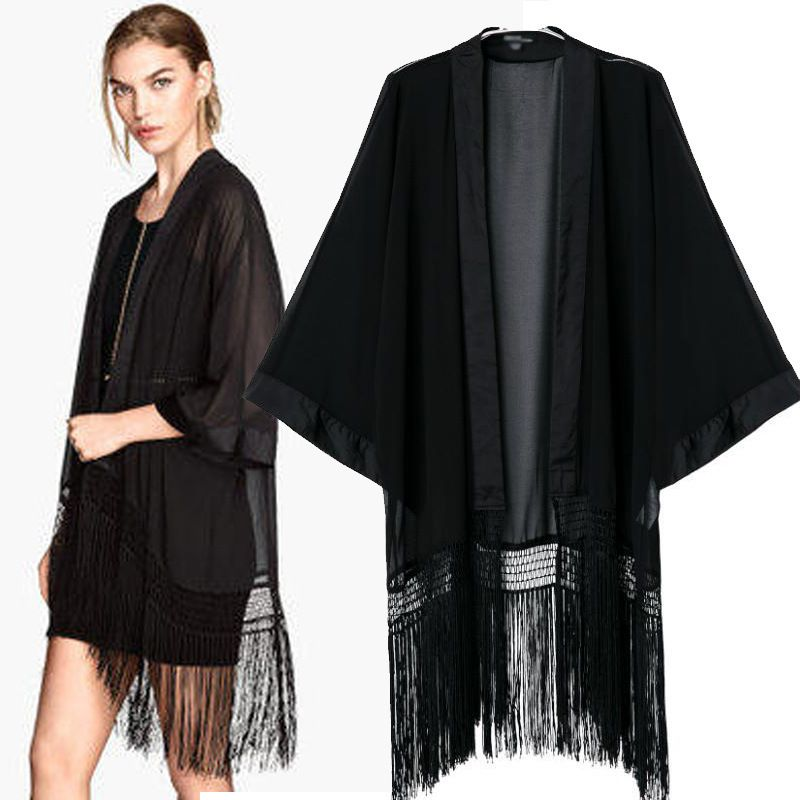 New European and American fringed chiffon kimono tassel long tops ...